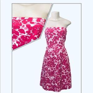 J.CREW PINK FLORAL STRAPLESS DRESS